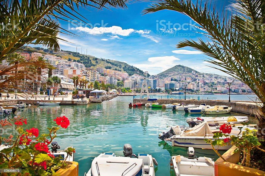 Saranda's  port  at ionian sea. Albania. stock photo