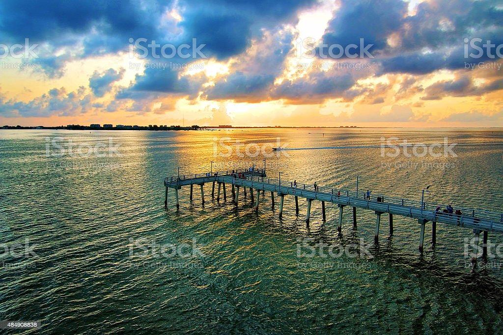 Sarasota Bay Fishing pier stock photo