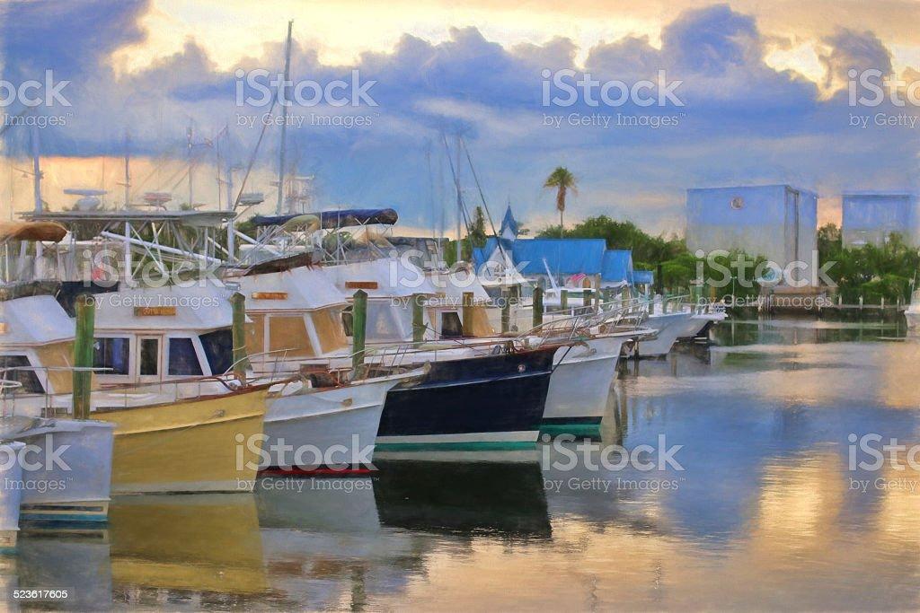 Sarasota - Boats in a row stock photo
