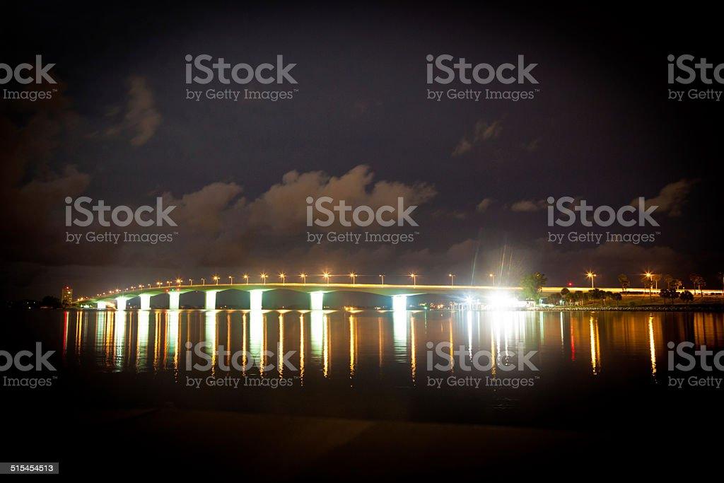 Sarasota Bridge at night stock photo