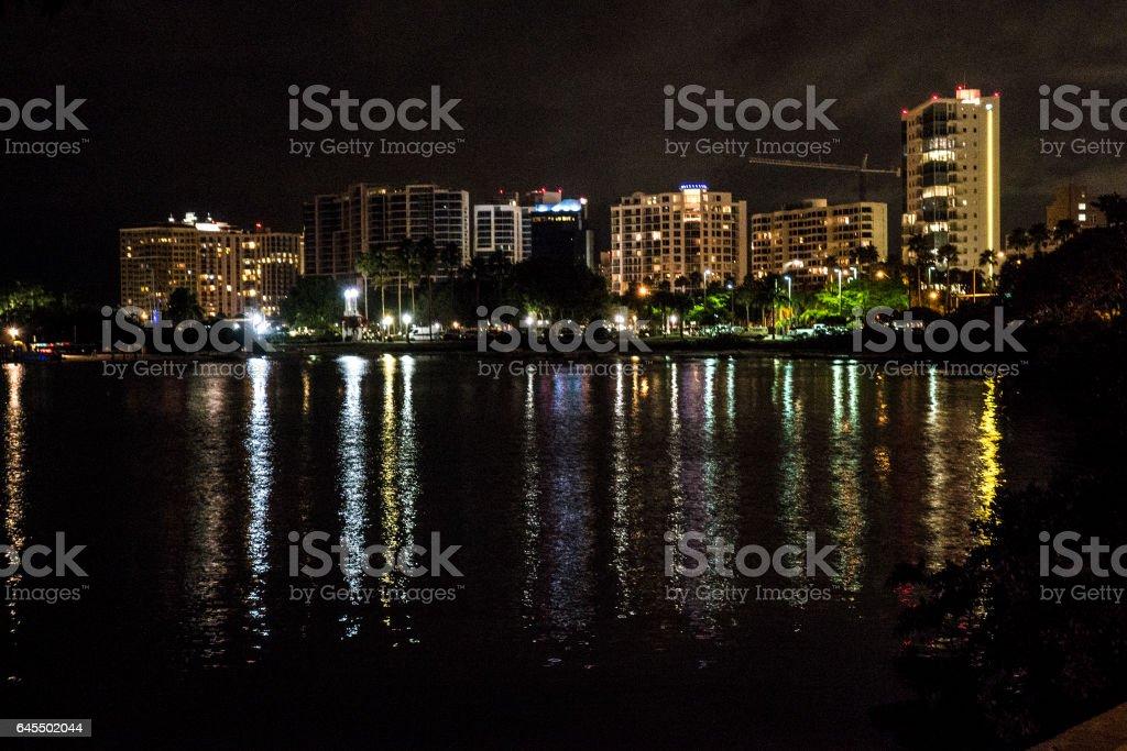 Sarasota Night Scene stock photo