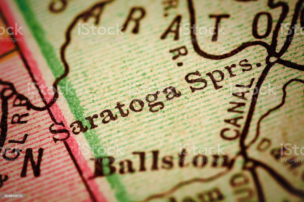 Saratoga Springs, New York on an Antique map stock photo