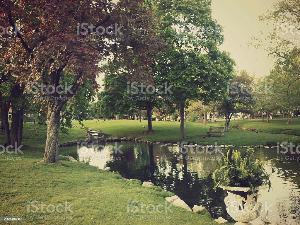 Saratoga Springs, New York Park Pond at Dusk stock photo