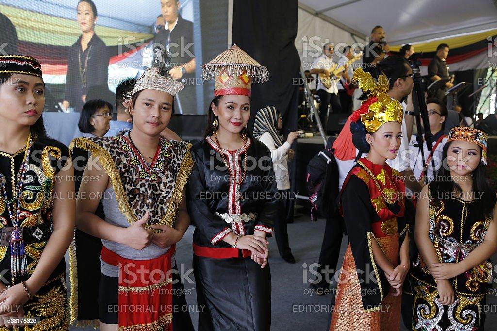 Sarawak Orang Ulu in traditional costume stock photo