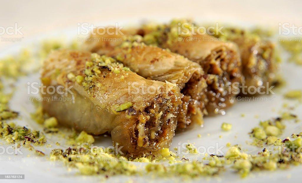Sarayli Baklava with pistachio royalty-free stock photo