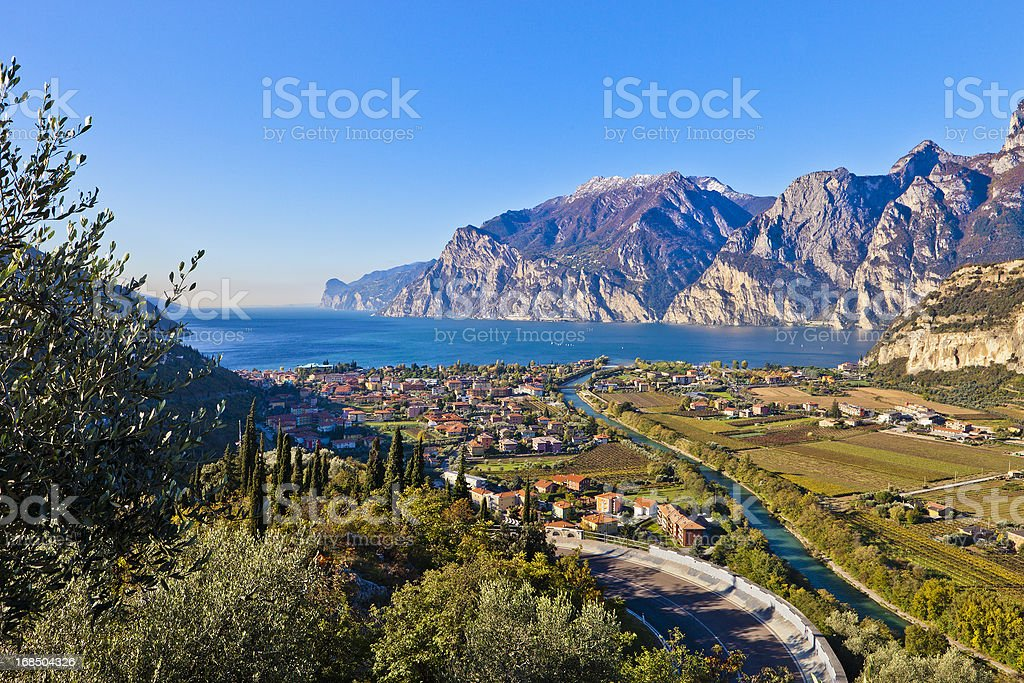 Sarca River And Lake Garda stock photo