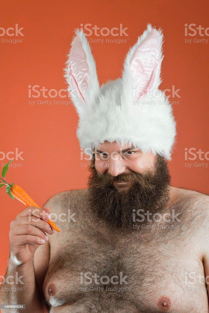 Sarcastic Bunny Man stock photo