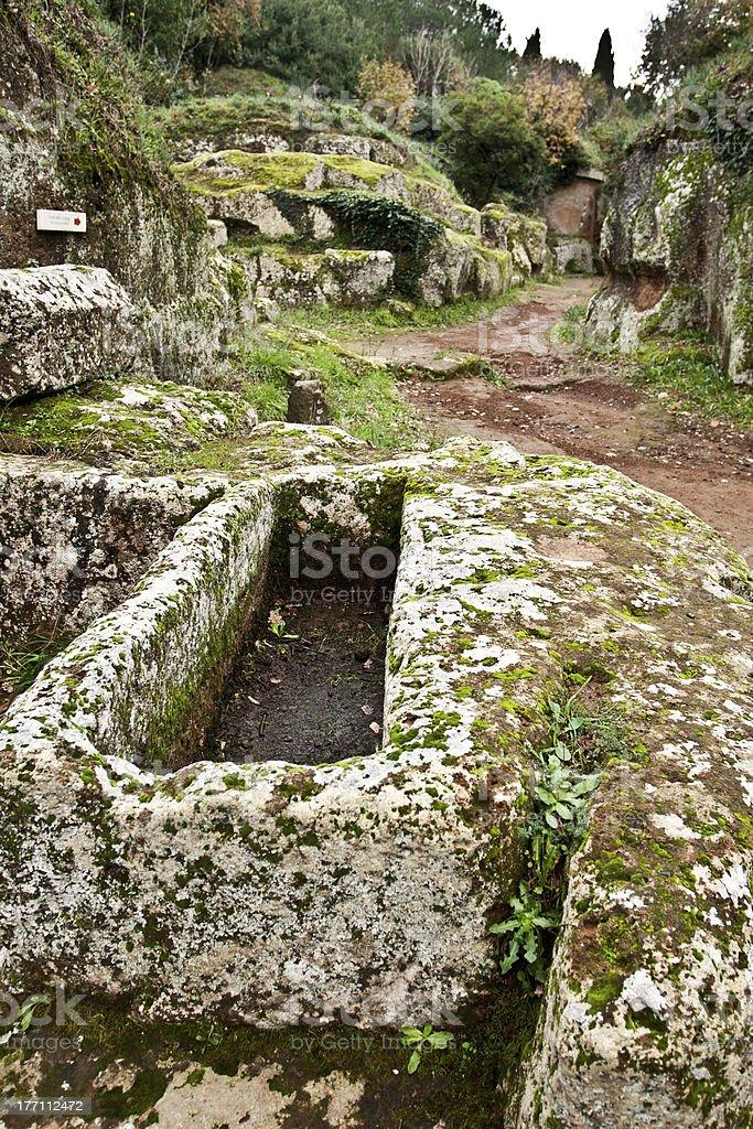 Sarcophagus at the Etruscan necropolis of Cerveteri (Italy) stock photo