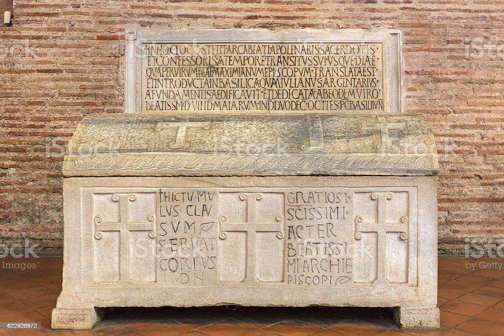 Sarcophagus, Basilica of Sant'Apollinare in Classe, Ravenna stock photo