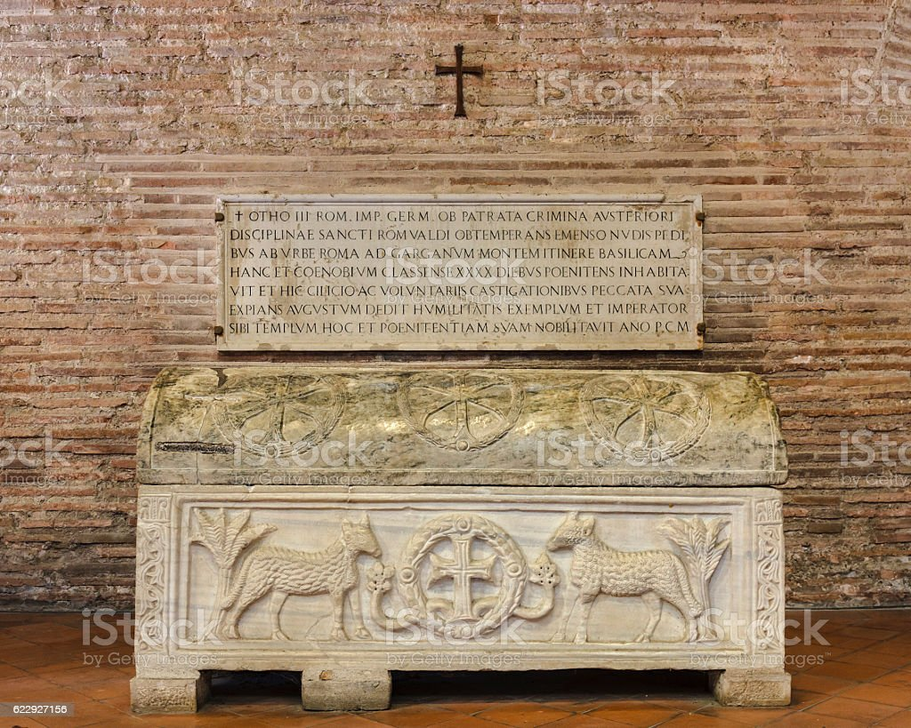 Sarcophagus, Basilica of Sant'Apollinare in Classe, Ravenna stock photo