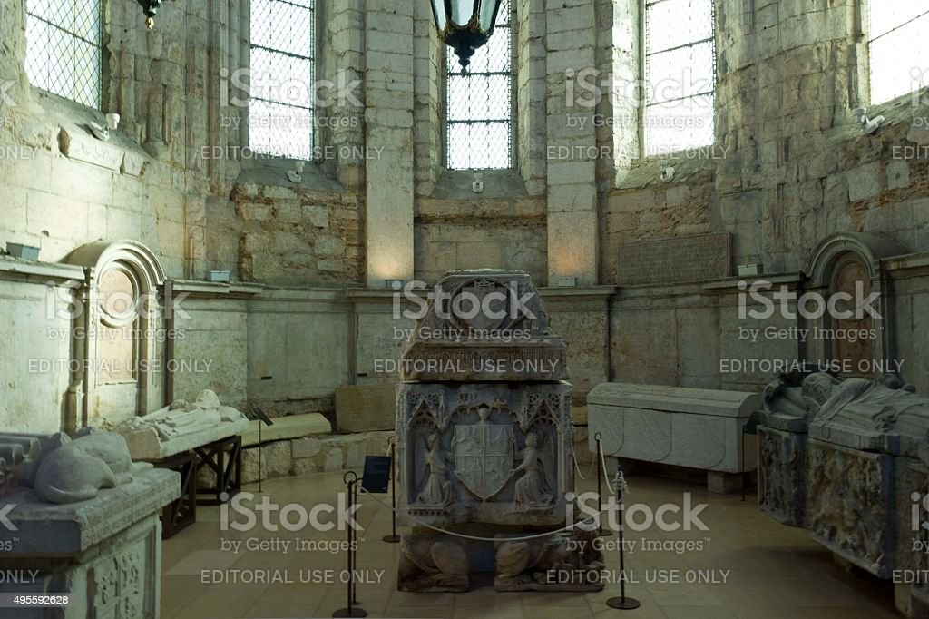 Sarcophagus in Carmo convent in Lisbon stock photo