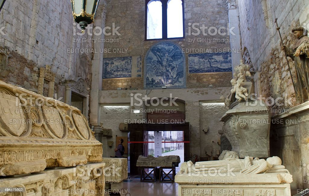 Sarcophagus inside the Carmo convent stock photo
