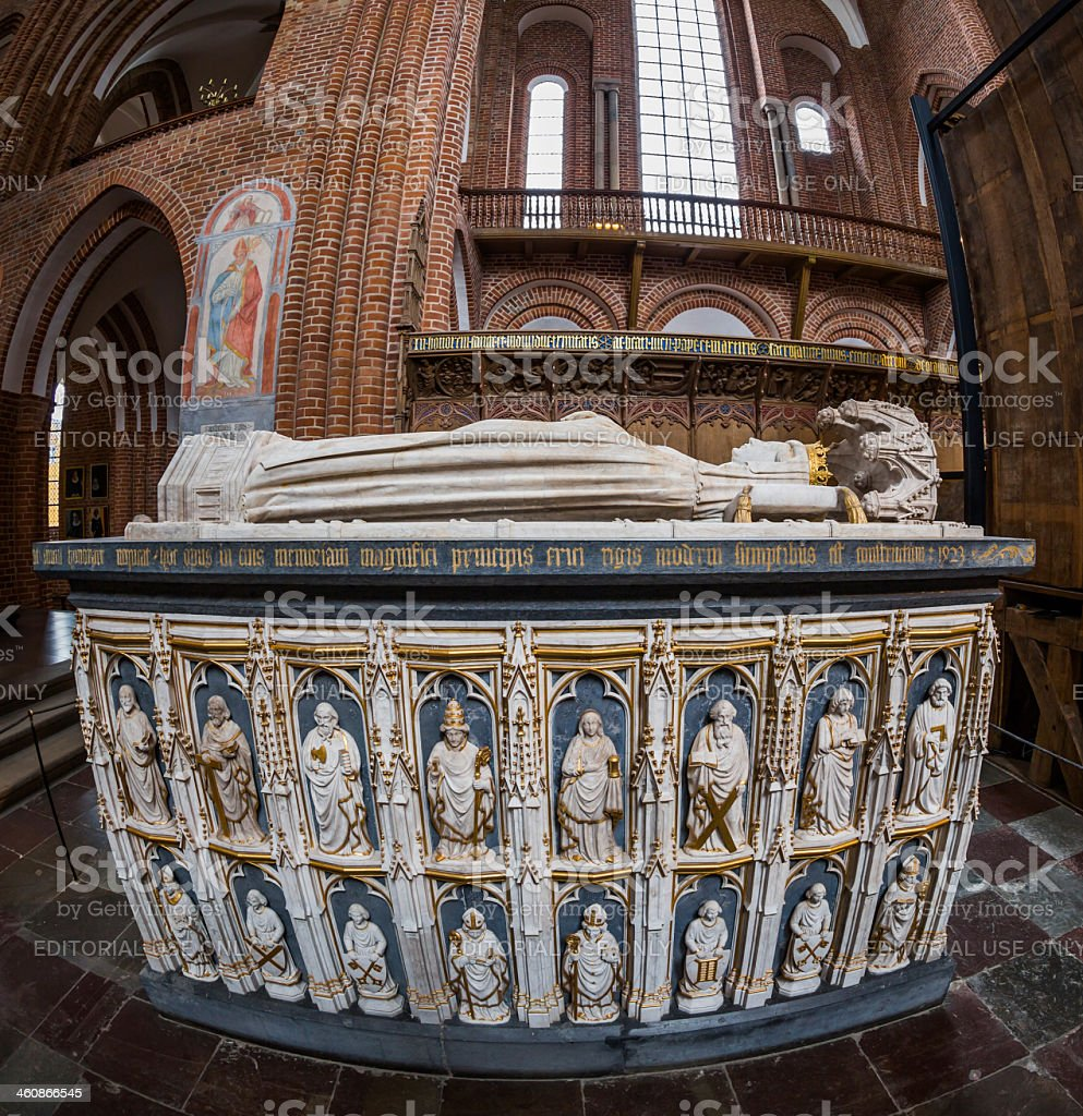 Sarcophagus of Queen Margrethe I,1353 – 1412, Roskilde cathedral stock photo