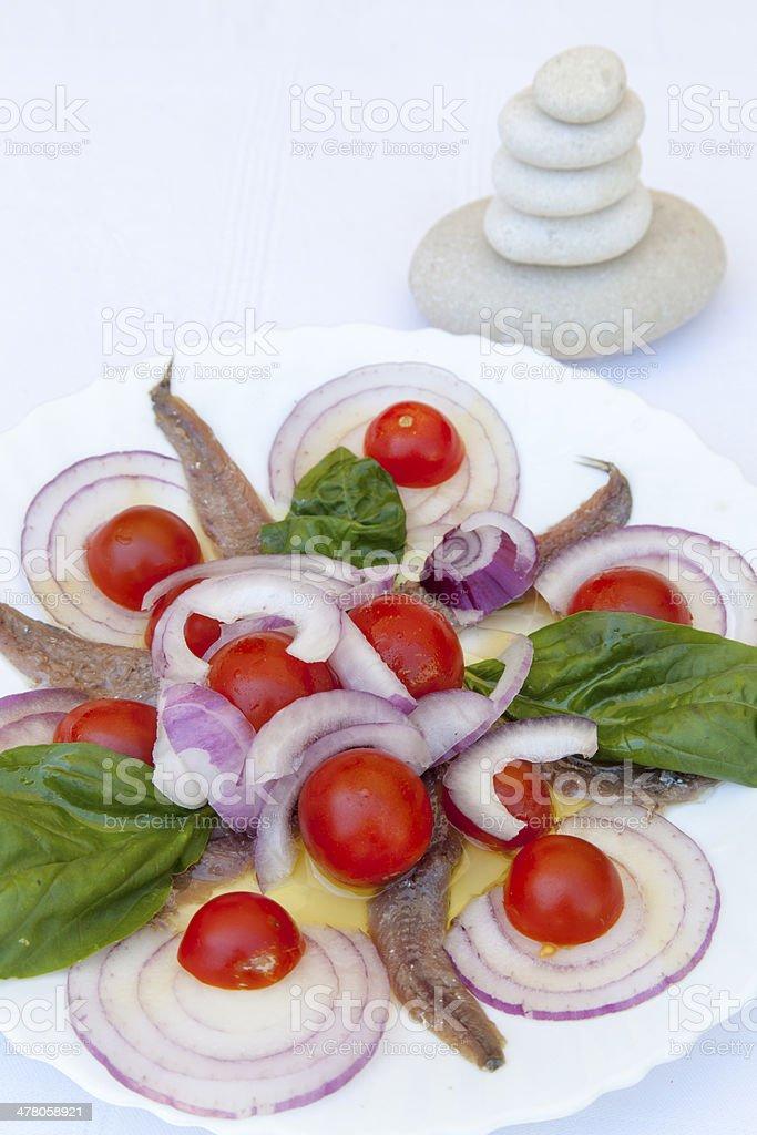 Sardine fillets with  Mediterranean herbs royalty-free stock photo