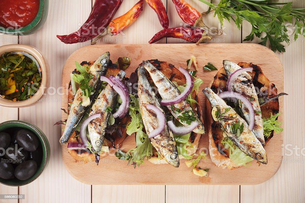 Sardine fish sandwich stock photo