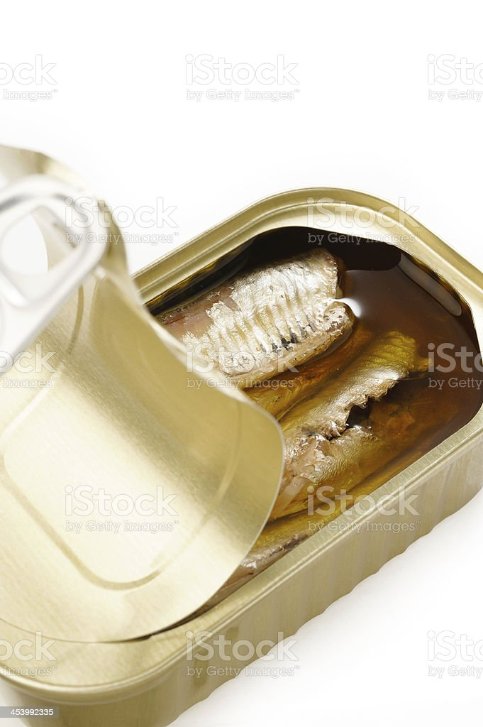 sardines in extra virgin olive oil  on white background royalty-free stock photo