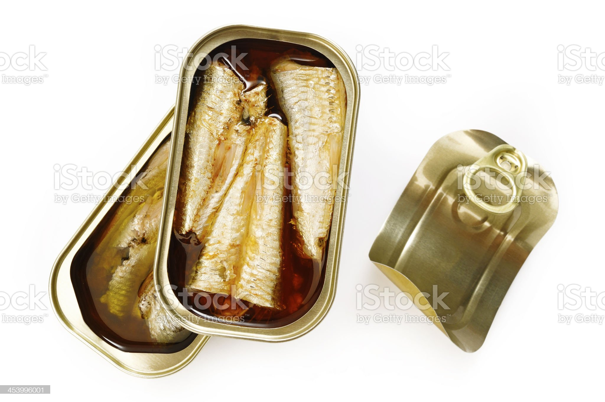 sardines in olive oil on white background royalty-free stock photo