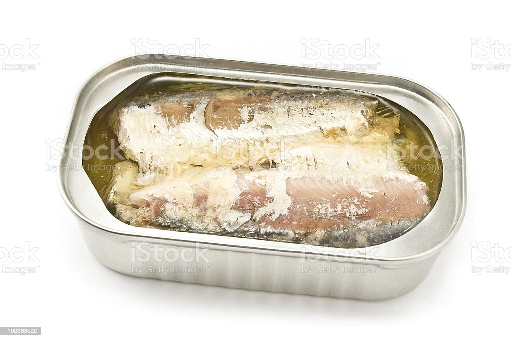 Sardines in opened tin can royalty-free stock photo