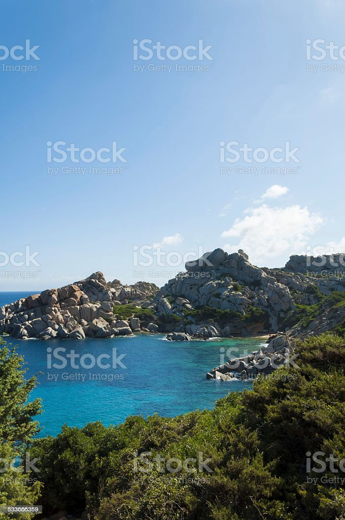 Sardinia bay of capo testa stock photo