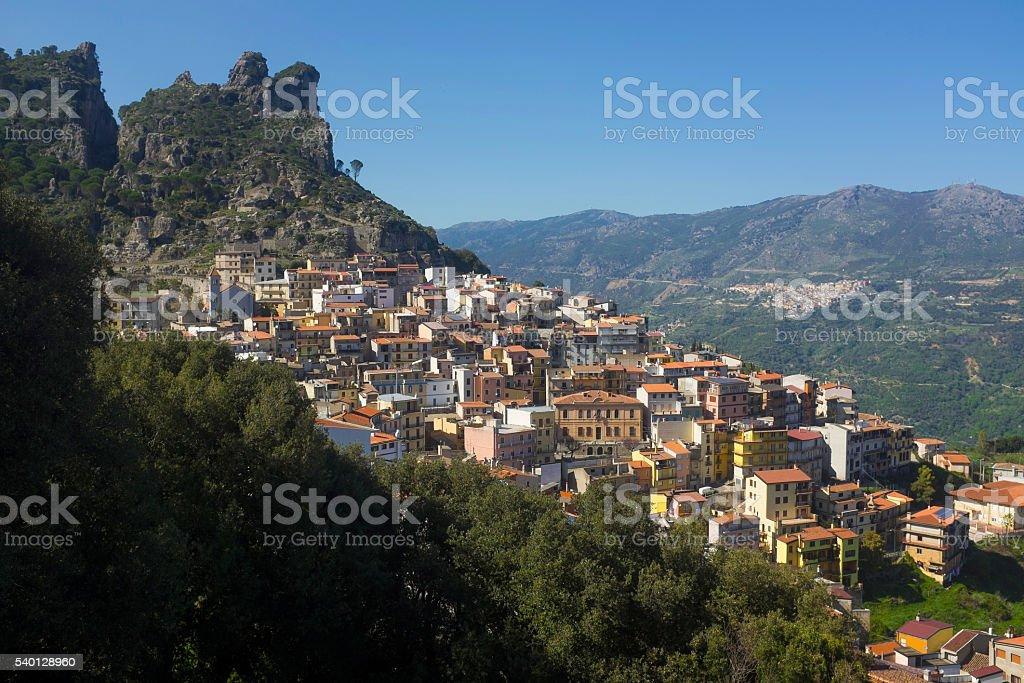 Sardinia Mountain Village Ulassai stock photo