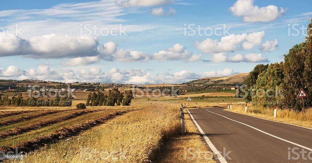 Sardinia, road and countryside royalty-free stock photo