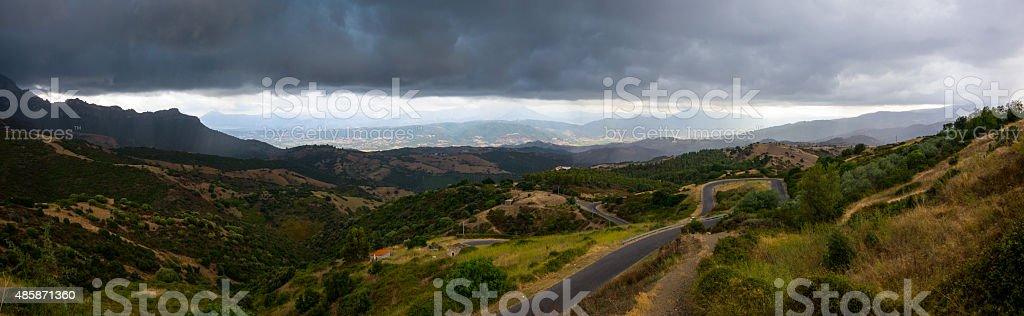 Sardinian Landscape panorama, thunderstorm stock photo
