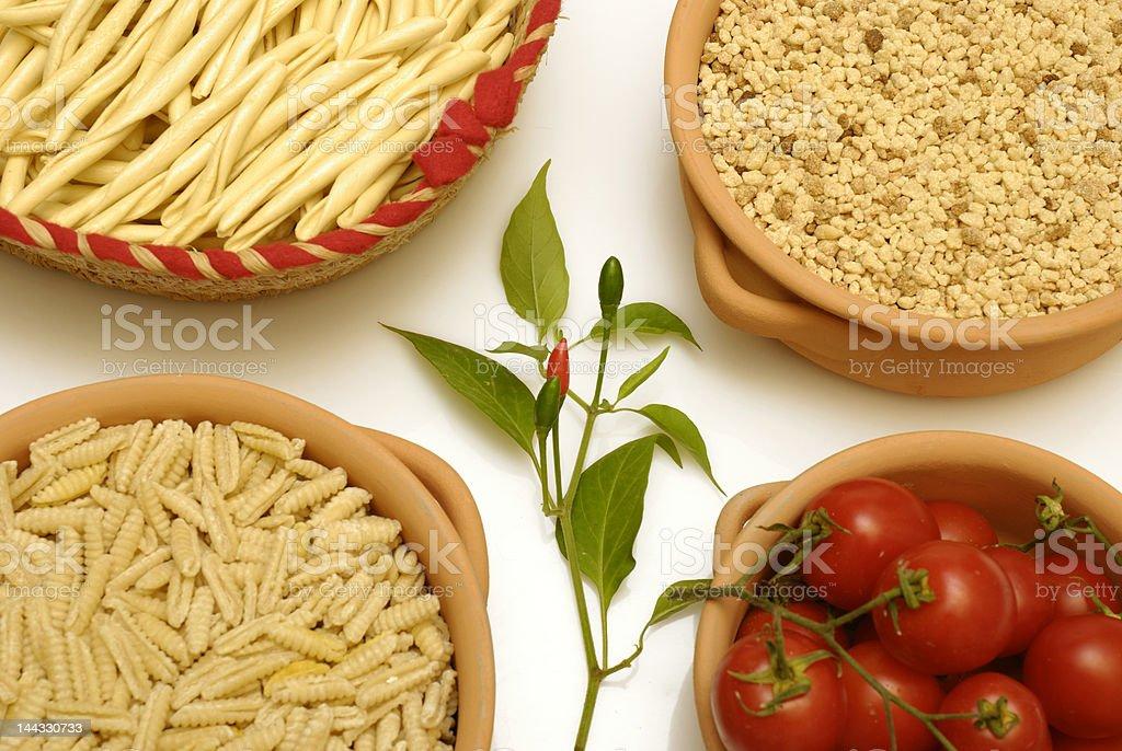 Sardinian pasta and tomatoes royalty-free stock photo