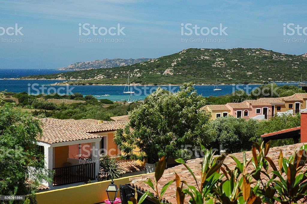 Sardinian sea seen from the village-Golfo Aranci stock photo