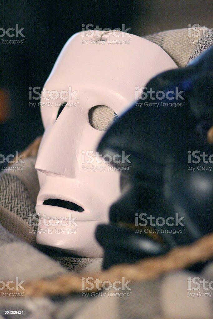 Sardinian traditional masks. stock photo
