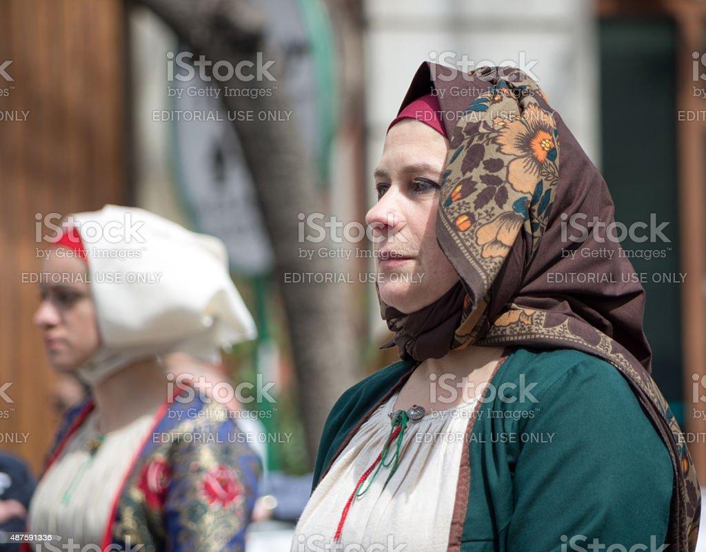 Sardinian typical costumes stock photo