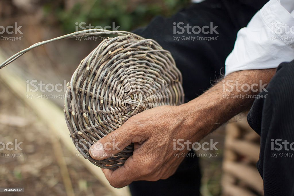 Sardinian weaving basket stock photo