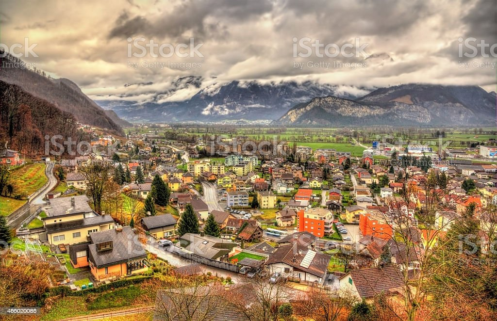 Sargans Village in Swiss Alps with mountains in background stock photo