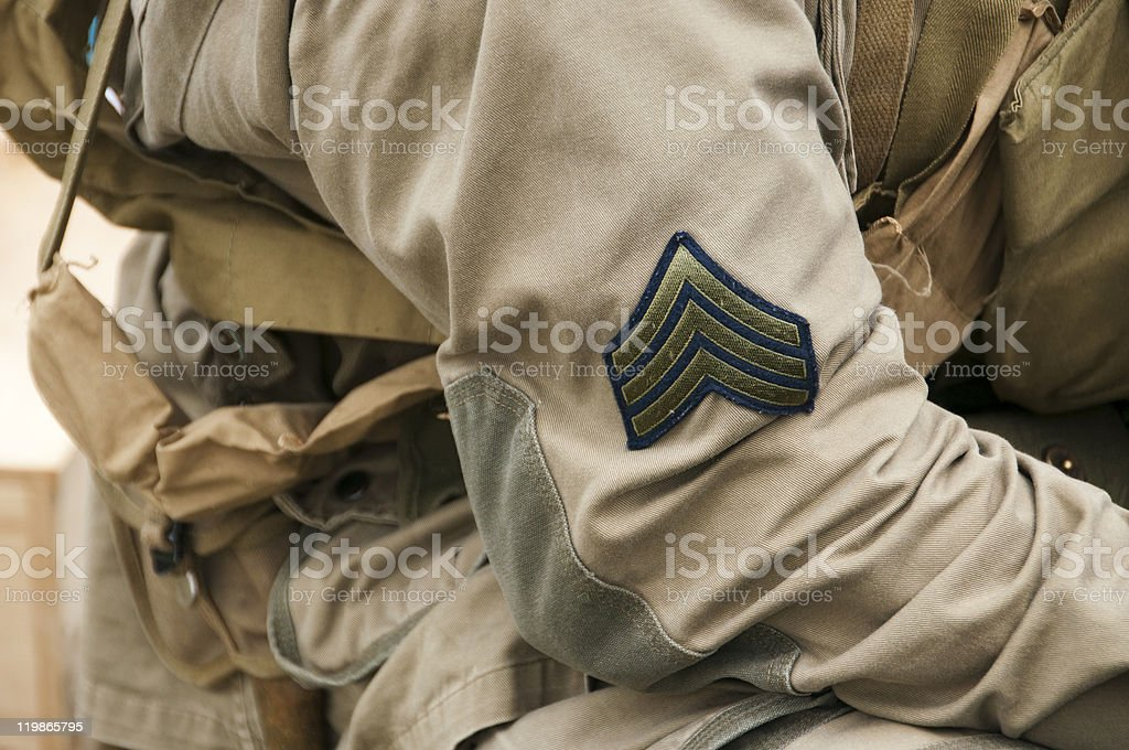 Sargent Stripes on US Army Uniform - Circa WW II stock photo