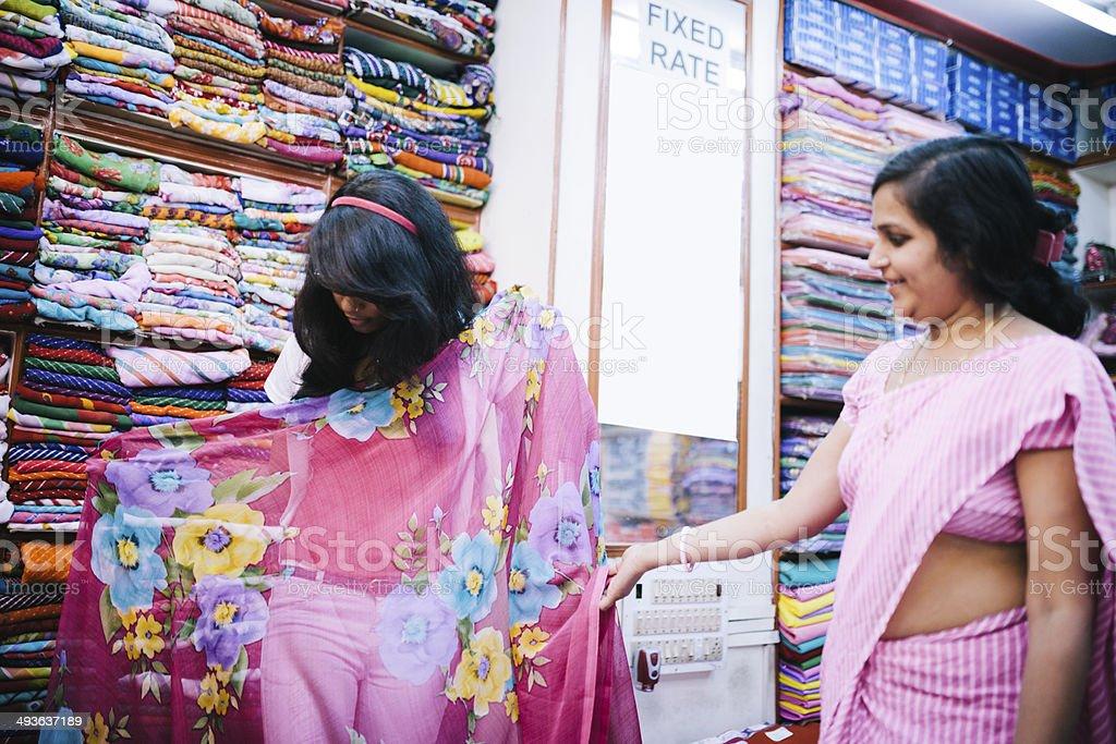 Sari shopping, Udaipur stock photo