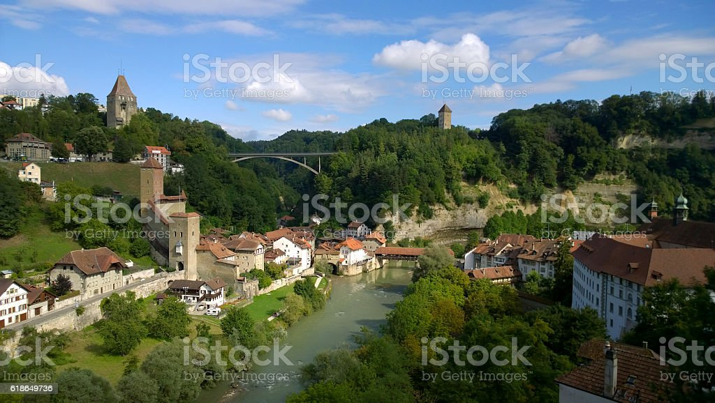 Sarine river and valley in Fribourg, Switzerland stock photo