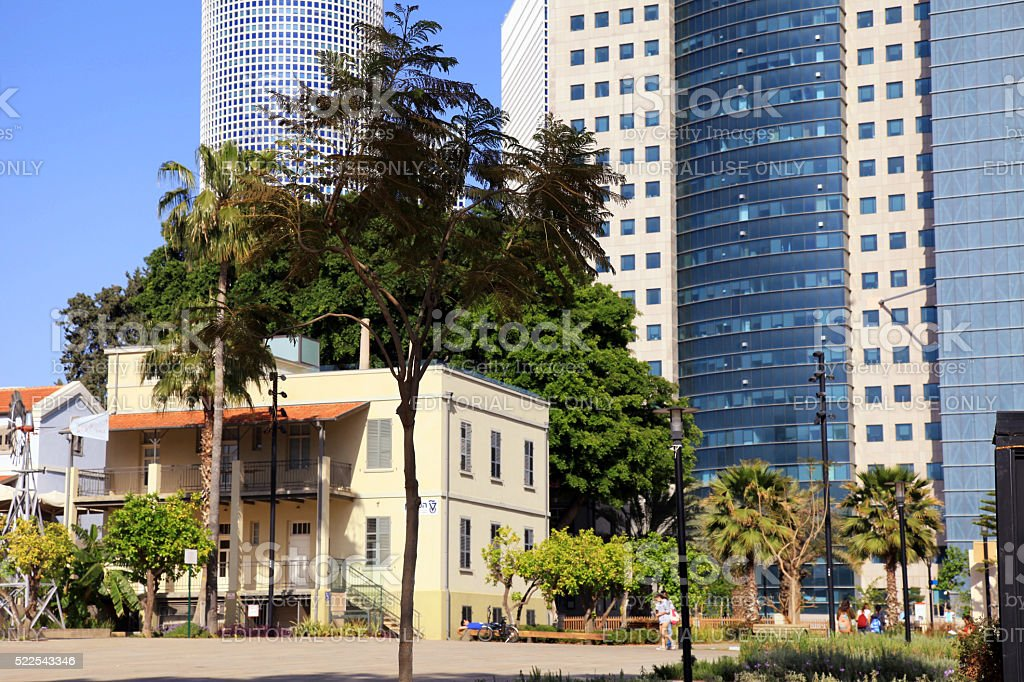 Sarona Market and skyscrapers of Azrieli Center,Tel Aviv, Israel stock photo