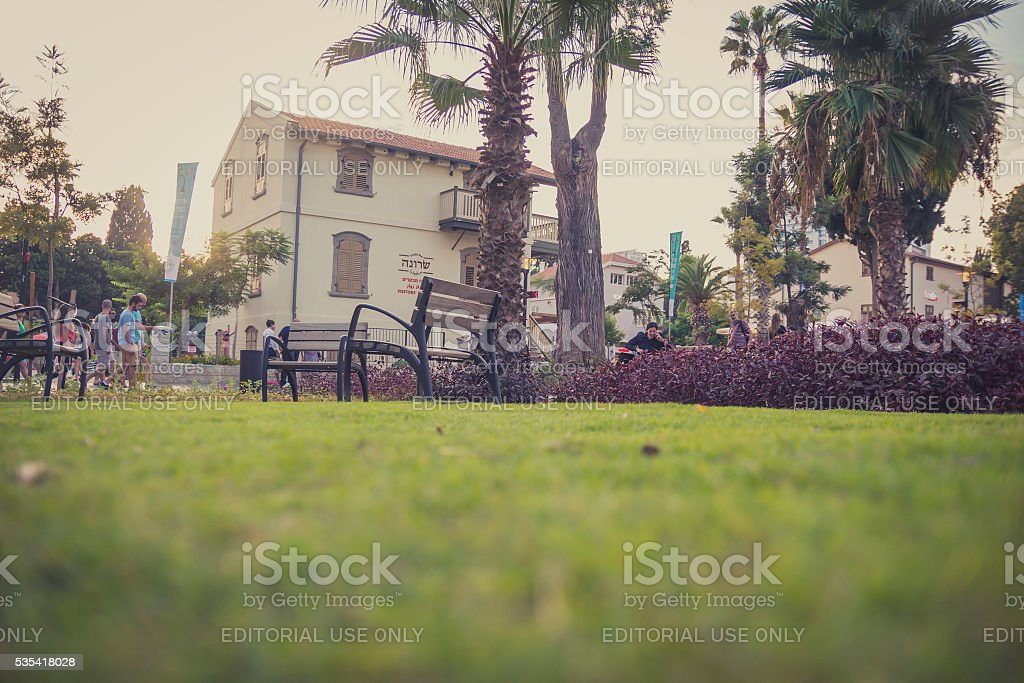 Sarona open air commercial center in Tel Aviv with visitors stock photo