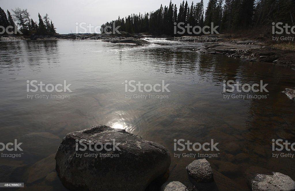 Sasagin Rapids on Grass River in Northern Manitoba stock photo