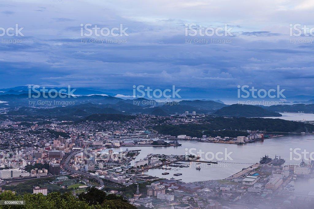 Sasebo city skyline at night from mount Yumihari overlook Nagasa stock photo