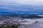 Sasebo city skyline at night from mount Yumihari overlook Nagasa