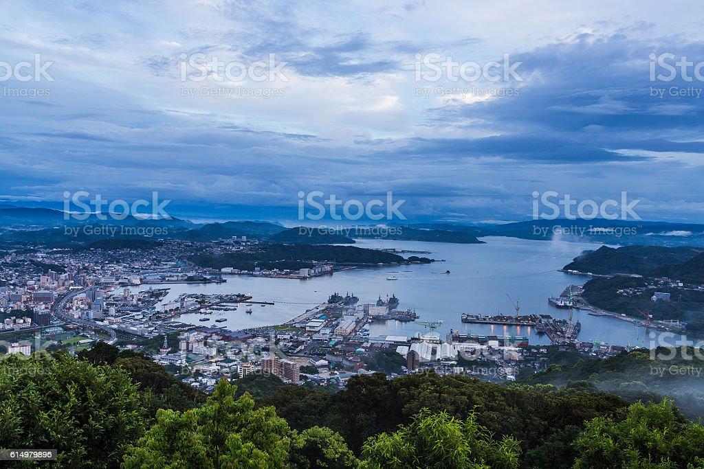 Sasebo city skyline view from mount Yumihari overlook Nagasaki, stock photo