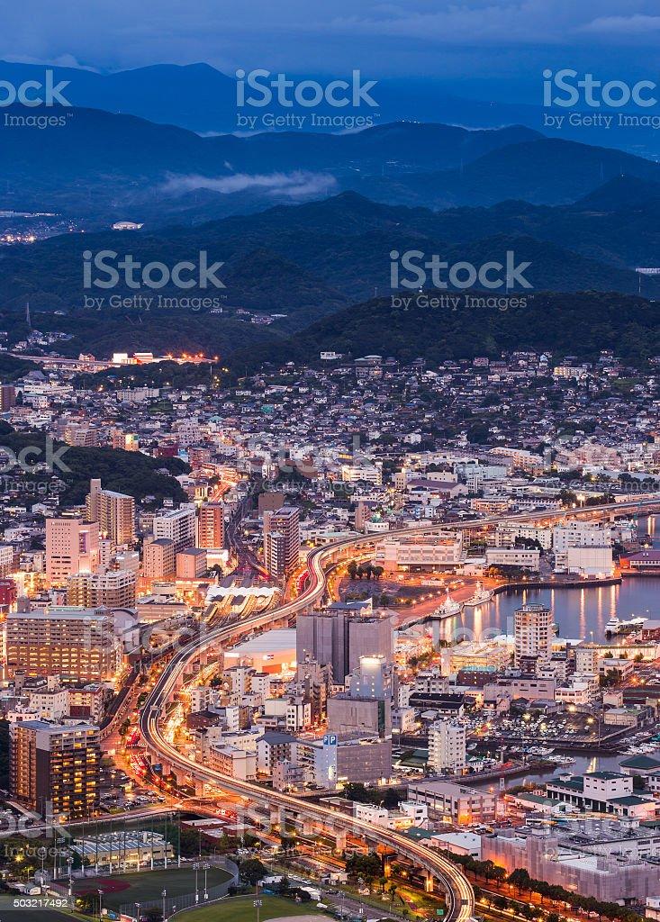 Sasebo cityscape at night, Nagasaki, Japan stock photo