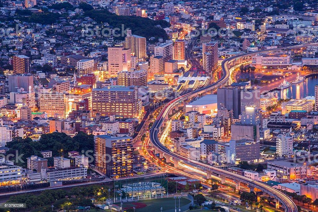 Sasebo downtown at night, Nagasaki, Japan stock photo
