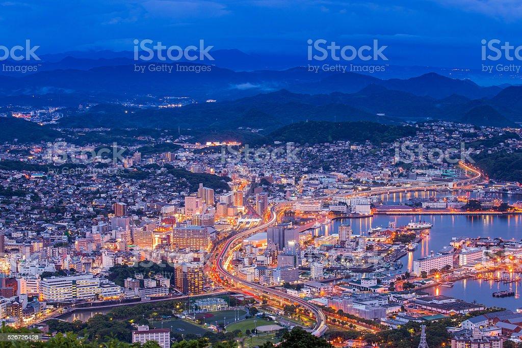 Sasebo downtown skyline at night, Nagasaki, Japan stock photo