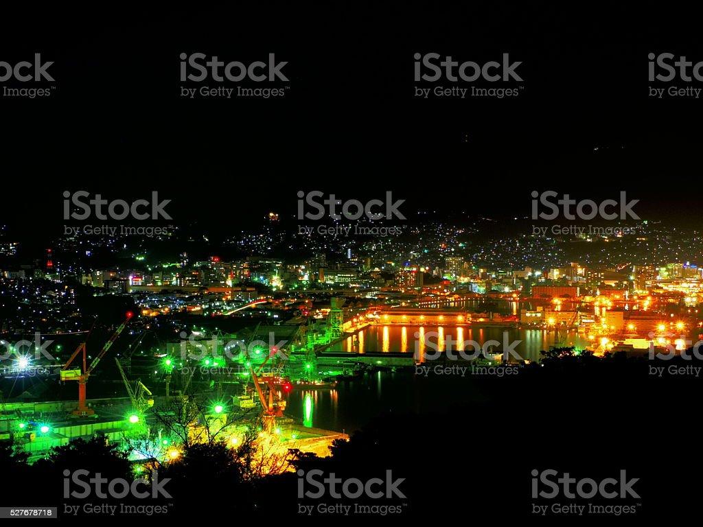 Sasebo night view stock photo