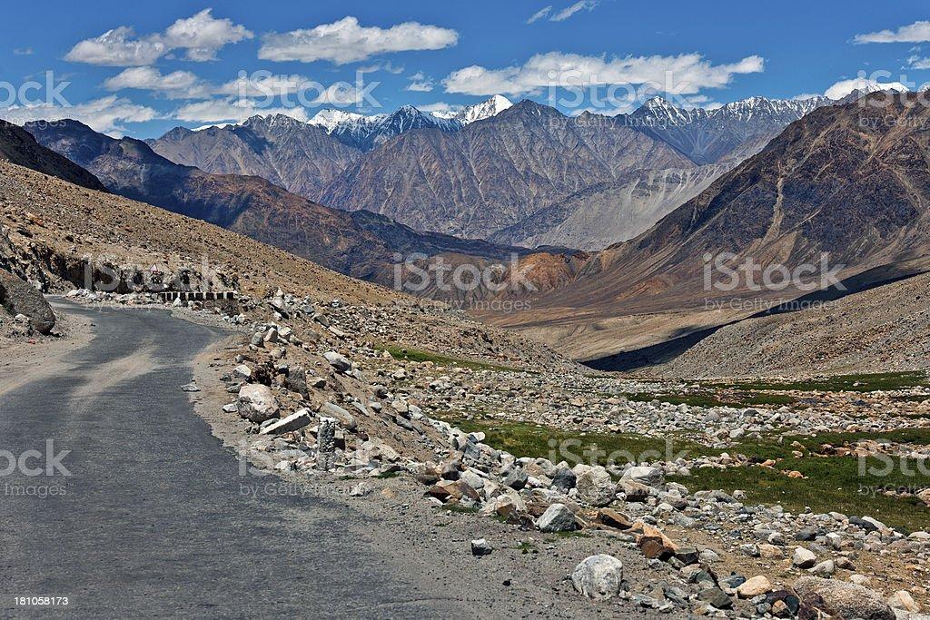 Saser Kangri Mountains and Nubra Valley Kardung La Ladakh India royalty-free stock photo