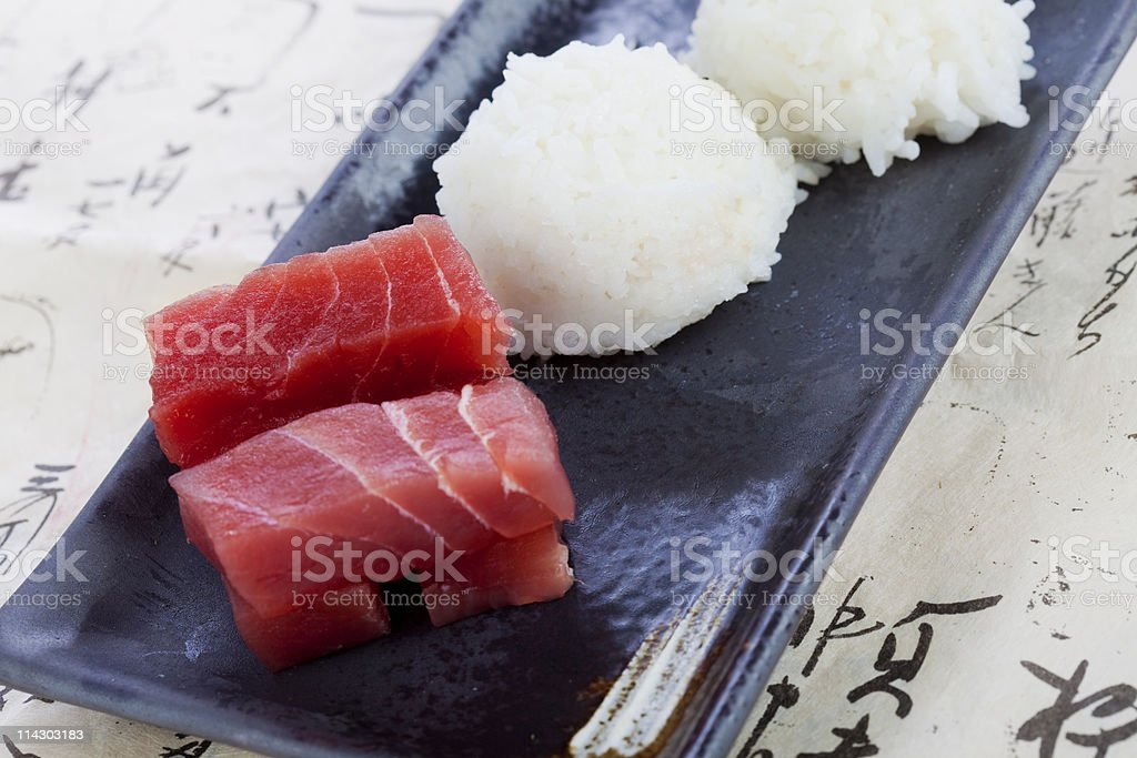 Sashimi Blocks and Rice royalty-free stock photo