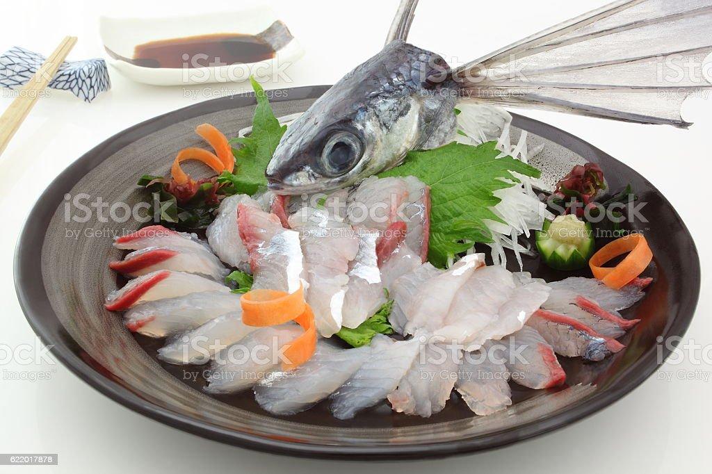 Sashimi flying fish, Japanese food stock photo