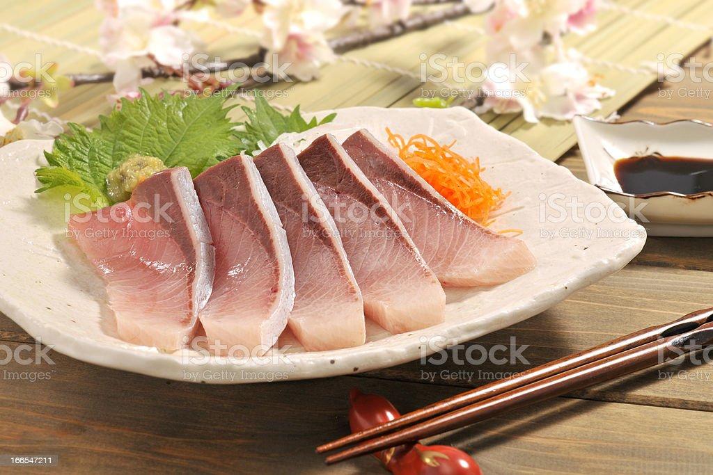 Sashimi of yellowtail stock photo
