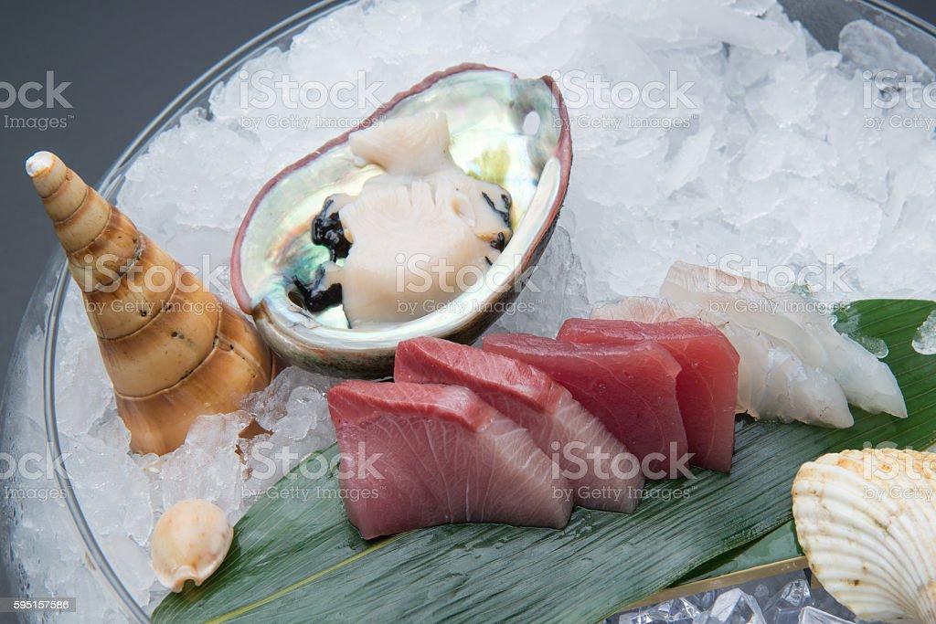 sashimi platter on ice, yellow tail, tuna, sea bass, abalone stock photo